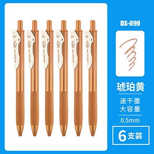 Abn Quick Dry Weichgummi-Griffstift Retro-Farbgelstift Vintage Multicolor Pen Für Journal School Office Supply 6 Stück/Set 0,5 mm, 6 Stück Bernsteingelb