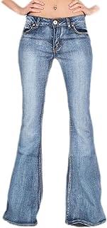 Sweetmini - Pantalones vaqueros para mujer, talle bajo, elásticos, ajustados, estilo desgastado, para mujer