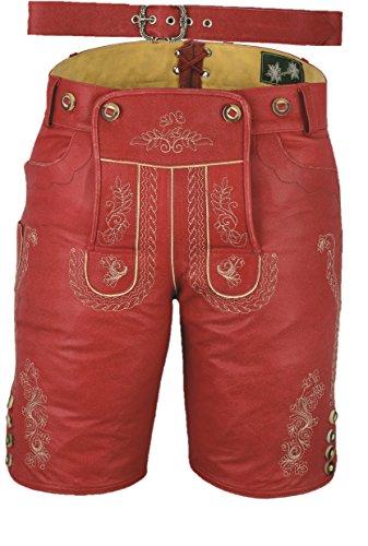 Fuente Kurze Lederhose mit Gürtel, echt Leder Nappa antik Trachten Lederhose Herren kurz, Damen Trachtenlederhose mit Gürtel kurz in Rot Vintage (50 EU, Antik Rot)