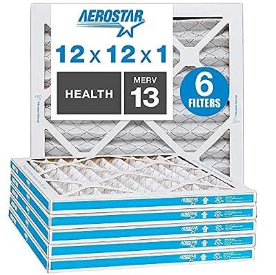 Aerostar MERV 13 Pleated Air Filter, AC Furnace Air Filter, Captures Virus Particles, 6-Pack