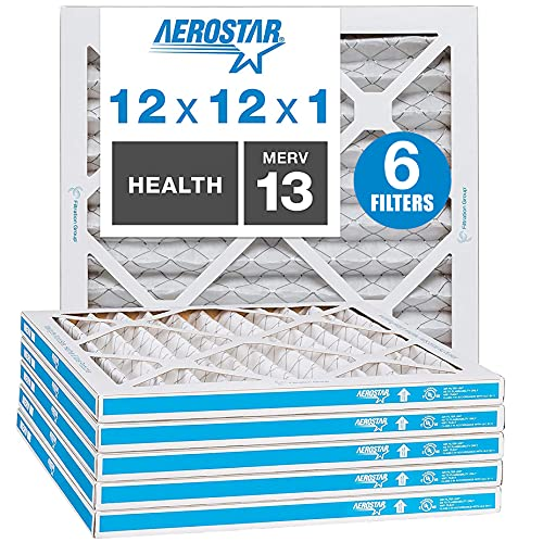 Aerostar Home Max 12x12x1 MERV 13 Pleated Air Filter Made in the USA Captures Virus Particles, (Actual Size: 11 3/4x11 3/4x3/4), 6 Pack