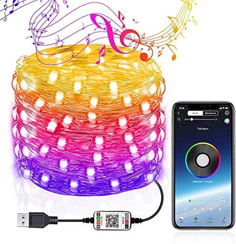 Bluetooth Light Fairy Lights USB Plug in Led String Lights Outdoor Indoor Twinkle Lights Color Changing Copper Wire String Lights APP Wire Starry String Lights for Home Bedroom. (20M 200 Light)