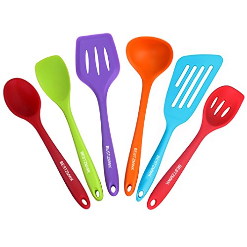 BESTZMWK Kitchen Utensil Set - Rubber Cooking Utensils - 6 Piece Kitchen Utensils - Non Stick Silicone Utensils - Colorful Kitchen Gadgets and Tools Gift with Fish Turner