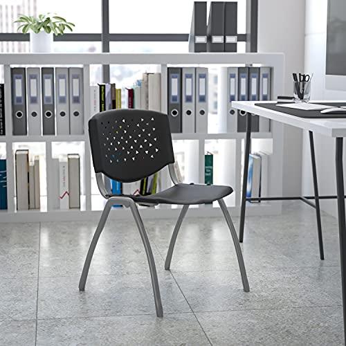 Flash Furniture HERCULES Series 880 lb. Capacity Black Plastic Stack Chair with Titanium Gray Powder Coated Frame