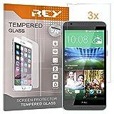 REY 3X Protector de Pantalla para HTC Desire 820, Cristal Vidrio Templado Premium