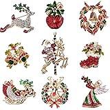 YADOCA 9 Pièces Ensemble Noël Broches et Pins pour Femme Strass Cristal Broche Multicolore Décorations de Noël Épingles Vacances Noël Cadeau pour Femmes Enfants