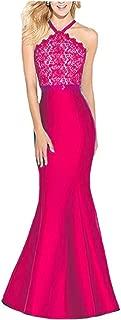 Lace Halter Royal Blue Mermaid Prom Dresses Keyhole Back Satin Bridesmaid Dresses Long