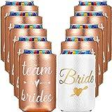 10 Enfriadores de Latas de Bebida de Dama de Honor y Novia, 9 Fundas de Enfriadores de Latas de Cerveza de Oro Rosa, Funda de Bebidas Aislamiento Blanco para Fiesta (5 x 4 Pulgadas)