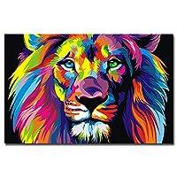 """ポスターヴィンテージキャンバス絵画現代抽象壁アートリビングルーム印刷画像カラフルなライオンの家の装飾ファッション50x70cm / 19.7""""x27.6"""" フレームなし"""