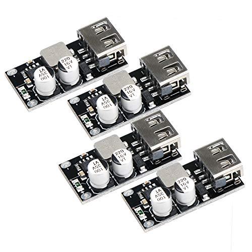 Módulo de cargador USB, Droking 4 PCS Buck Converter DC-DC Módulo reductor 6-32V 12V 24V a 5V Control de voltaje de la fuente de alimentación del tablero de carga Regulador de voltaje Volt Transformer
