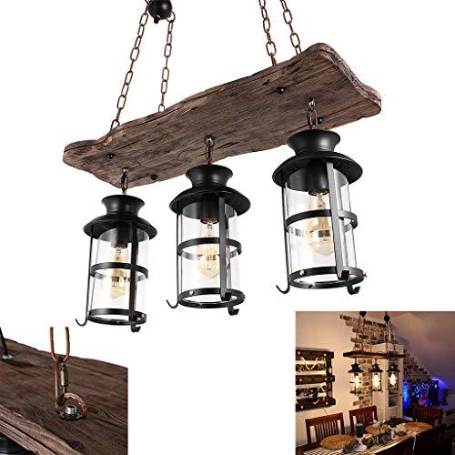 E27 Pendelleuchte Vintage Hängeleuchte Retro Edison Loft Kronleuchter Höhenverstellbar Retro Holz Pendelleuchte Schwarz Eisen und Glas Lampenschirm Hängelampe für Wohnzimmer Kücheninsel Esszimmer Bar