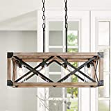 wood and metal kitchen island - LOG BARN Chandelier, Farmhouse Light Fixture in Rustic Wood and Rustic Metal Finish with 4 Clear Glass Shades, Dining Room Lighting Fixtures Hanging for Kitchen Island