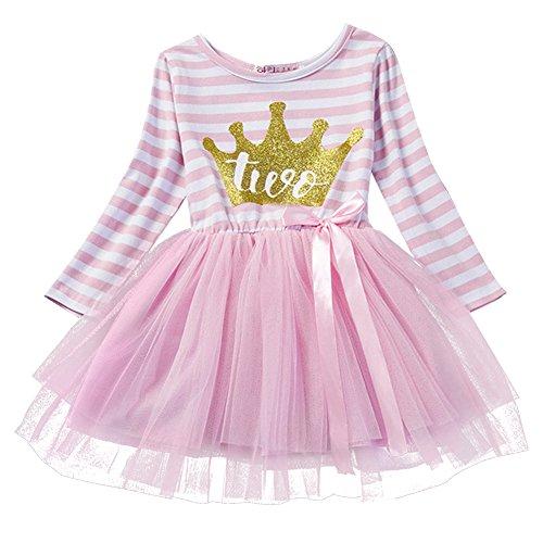 Neugeborene Säuglings Kleinkind Baby Mädchen Ist es Mein 1. / 2. / 3. Geburtstags Gestreiften Tüll Tütü Prinzessin Kleid mit Bowknot Partykleid Fotoshooting Outfits Kostüm Rosa