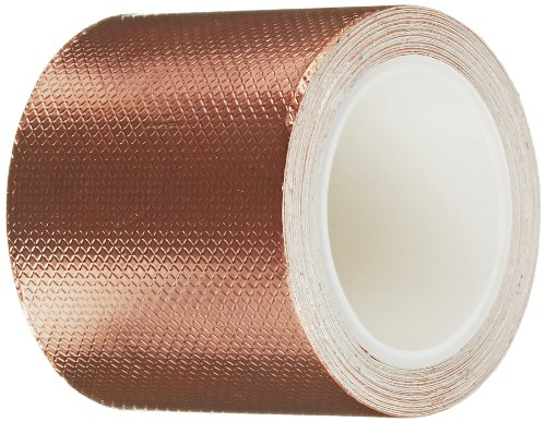 3M 1245 Embossed Copper Foil Tape - 2in. x 54ft. Pressure-Sensitive Acrylic Adhesive Roll for Grounding, EMI Shielding