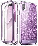 i-Blason iPhone Xs Hülle iPhone X Hülle Glitzer Handyhülle 360 Grad Hülle Glänzend Schutzhülle Cover [Cosmo] mit integriertem Bildschirmschutz für iPhone X / iPhone Xs (5.8 Zoll), Lila