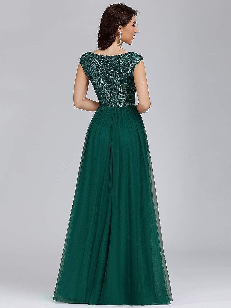 Ever-Pretty Womens V Neck Sequin A Line Floor Length Empire Waist A Line Tulle Long Evening Dresses 00983