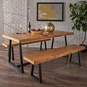 The simple iron and wood construction of this rustic dining set is perfect for everyone who appreciates honest construction. Built according to the standards of craftsmanship from another era, this is the perfect piece for people who can spot the rea...