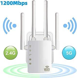 Extensor de alcance WiFi de 1200 Mbps, repetidor de señal inalámbrico, doble banda 2.4 G y 5 G, extensión de señal de 4 an...