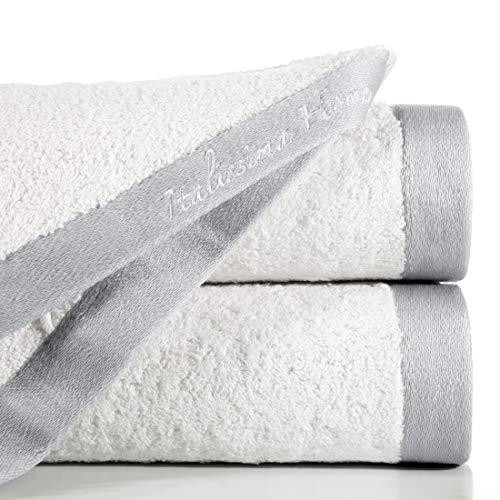 Eurofirany handdoek katoen crème zilver print tweekleurig eenvoudig badstof rand exclusieve set 3-pack Oeko-Tex, 70X140 cm, 3