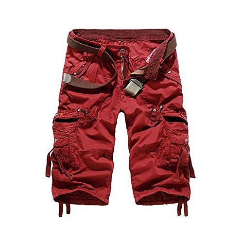 OMUUTR Herren Shorts Kurze Hose Sommer 3/4 Arbeitshose Bundhose Taschen ohne GürtelKhaki,Grau,Armeegrün