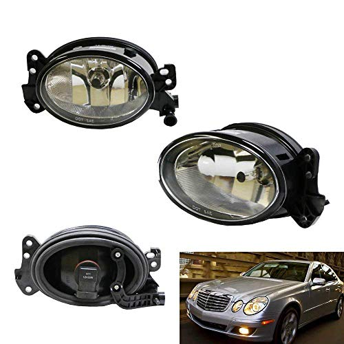 iJDMTOY One Pair Driver Passenger Sides Fog Light Lamps w/H11 Halogen Bulbs Compatible With Mercedes-Benz C E R CLS ML Class, etc (OEM# 1698201556)