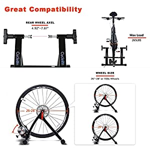 """Cycleinn 8 Level Magnetic Resistance Bike Trainer Stand for Indoor Exercise Riding, Noise Reduction Wheel, Stationary Bike Resistance Trainer for 26""""-28"""", 700C Wheels, Black (CI-MT001)"""