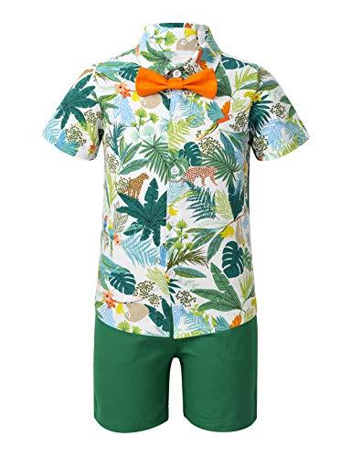TiaoBug Jungen Kurzarm Hawaii Hemd mit Fliege und Kurze Hose Sommer Freizeit Shorts Strand Urlaub Kleidung Set gr.80-116 Palme 104-110