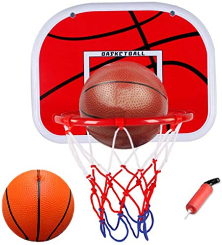 WoBoSen all'Interno Mini Basket Hoop a Ufficio Camera Mini Pallacanestro Bordo Bambini Sport di Svago con la Sfera e la Pompa (Basket)