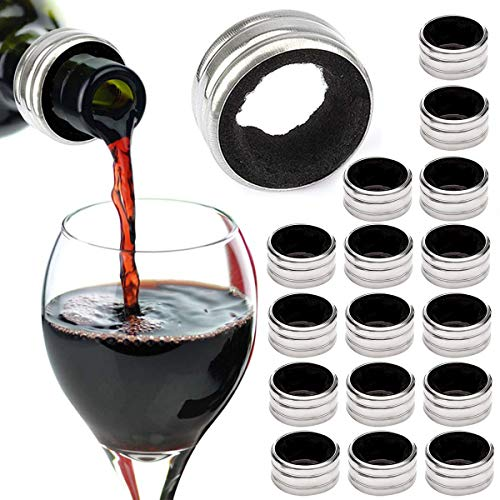 TheStriven 20 Stuck Tropfenfänger für Flaschen Edelstahl Rotwein Tropf-Stop Weinring Tropfschutz Flaschenkragen Tropf Stop Ring Weinflasche Kragen Auslaufsicher aus Edelstahl mit Filz Ausgekleidet