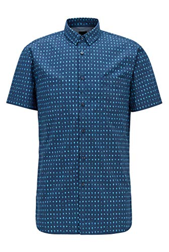 BOSS Herren Magneton 1-Short Slim-Fit Hemd aus Popeline mit Foto-Print