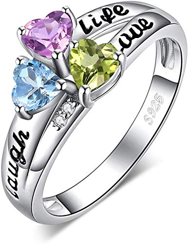 necklace Ladies fashion Life 3 stone heart-shaped real olivine purple crystal sky blue Toppa birthstone Personalized commitment ring pure silver split handle Hoisting (Size : 63 * 20mm)