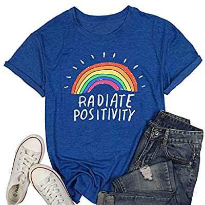Women Radiate Positivity Rainbow T-Shirt Funny Letter Printed Rainbow Graphic Tee Summer Short Sleeve Shirts Tops Tee
