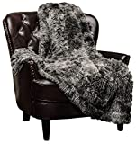 Chanasya Super Soft Fuzzy Shaggy Faux Fur Throw Blanket - Chic Design Snuggly Plush Lightweight with Fluffy Reversible Sherpa for Couch Living Room Bedroom and Home Décor (50x65 Inches) Dark Gray