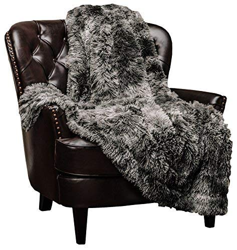 Chanasya Faux Fur Sherpa Throw Blanket - Color Variation Marble Print - Shaggy Fuzzy Plush Microfiber Silver Grey Blanket for Couch and Living Room (50x65 Inches) Dark Gray