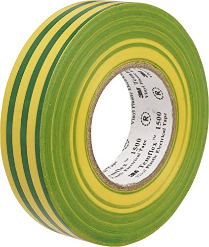 3M TGG1925 Temflex 1500 Vinyl Elektro-Isolierband, 19 mm x 25 m, 0,15 mm, Gelb/Grün