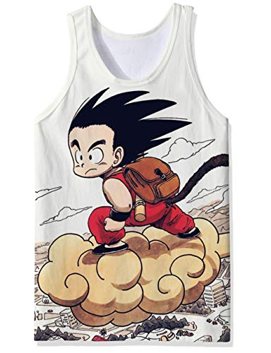 OPCOLV Muscle Tank Tops Color Oscuro Dragon Ball Comic Fitness Cadena de Entrenamiento Camisetas tee Hipster Hilarante Físico Chaleco Undershirt