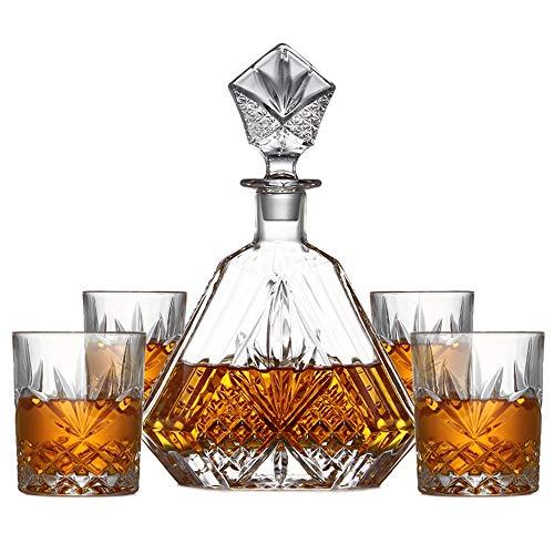 InChengGouFouX Decantador Set Sin Plomo de Vidrio cristalino de Whisky de Cristal...