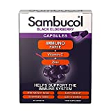 Sambucol Natural Black Elderberry Immuno Forte Capsules   Vitamin C   Zinc   Immune Support Booster   30 Capsules
