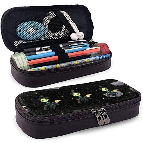 Besen Hexe Leder 3D Nanotechnologie gedruckt Federmäppchen Tasche mit Reißverschluss Stift Box, große Kapazität Briefpapier Box