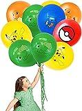 Yisscen Globos de Látex Cumpleaños Decoraciones Pokemon Suministros para Fiestas Globos de Pikachu Birthday Party Supplies 50 Piezas