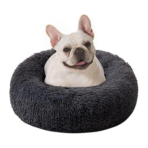 DanceWhale Redonda Cama Perro Gato Cama Cama de Felpa para Mascota Lavable Sofa Suave Cachorro Calentito Cojín(60cm, Gris Oscuro)