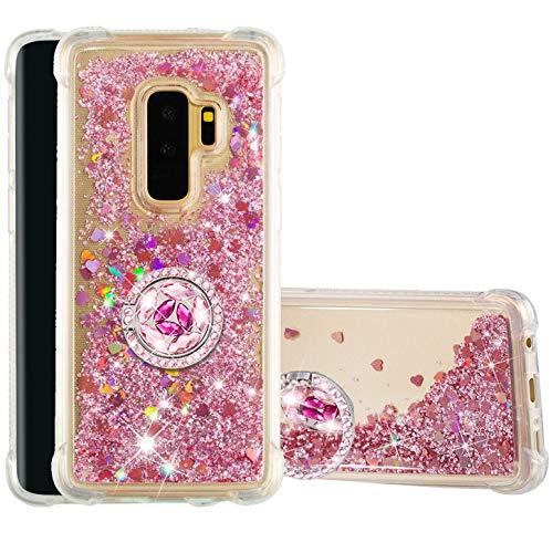 Hancda Hülle für Samsung Galaxy S9 Plus [Nicht für S9], Handyhülle Schutzhülle Case Flüssig Glitzer Hülle Transparent Silikonhülle mit Diamant Ring Ständer Halterung für Galaxy S9 Plus,Rose Gold