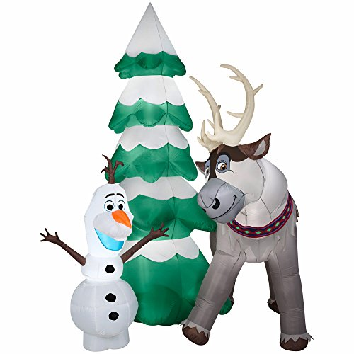 Blow Up Chrsitmas Tree with Olaf and Sven