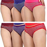Fabme Women's Stripes Cotton Panties - Pack of 6 - ( Large , 90 cm. , 34 inch. )