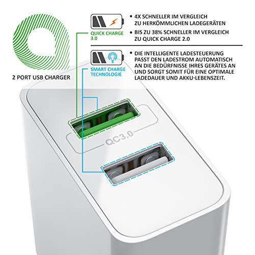 CSL - USB Ladegerät 30W QC 3.0-2 Port Netzteil inkl. Quick-Charging Schnellladefunktion - Smart Charge Solid Charge intelligentes Laden - weiß