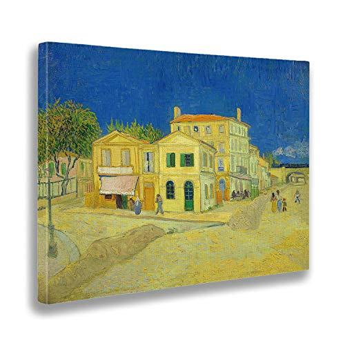 Giallobus - Cuadro - Vincent Van Gogh - La casa Amarilla (la Calle) - Estampado en Lienzo - Listo para Colgar - Varios tamaños 70x50 cm