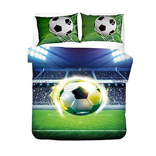 Påslakan för unga vuxna 3D fotboll sportserier vändbara sängkläder mjukt mikrofiber påslakan och 2 örngott 180 x 200 cm fotbollsstadion
