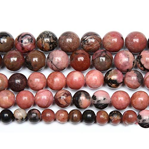 Cuentas de encaje negro de piedra natural en hebra suelta 4, 6, 8, 10, 12 mm, tamaño de púa para fabricación de joyas