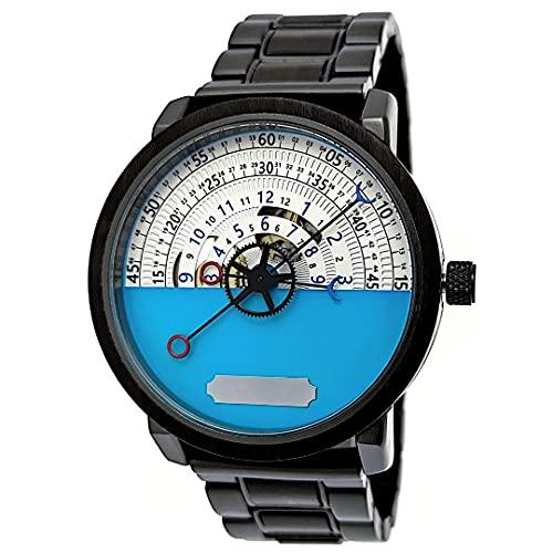Holzwerk Germany - Reloj automático para hombre (fabricado a mano, madera ecológica, analógico), color marrón, negro, azul y blanco