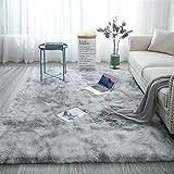 Glitzfas - Alfombra Shaggy de pelo largo para salón, camino para dormitorio, comedor, pasillo y habitación de los niños, color agua gris, 80 x 160 cm